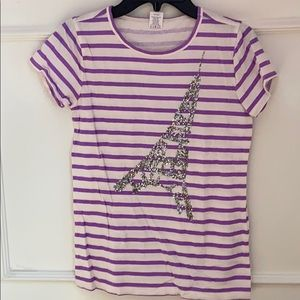 Girls Crewcuts Eiffel Tower striped t-shirt